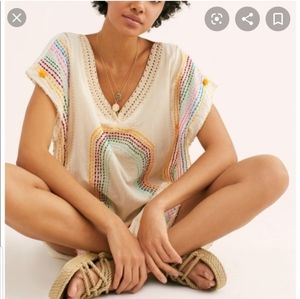 Free People Momo Rainbow embroidered Tunic Dress M